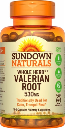 Sundown Naturals Whole Herb Valerian Root Capsules 530mg Perspective: front
