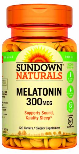 Sundown Naturals Melatonin 300 mcg Tablets Perspective: front