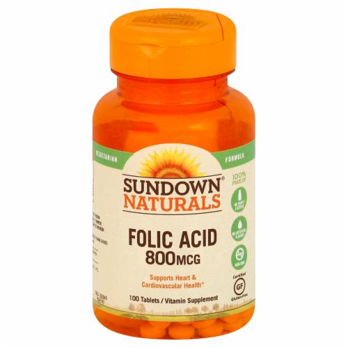 Sundown Naturals Folic Acid 800 mg Tablets Perspective: front