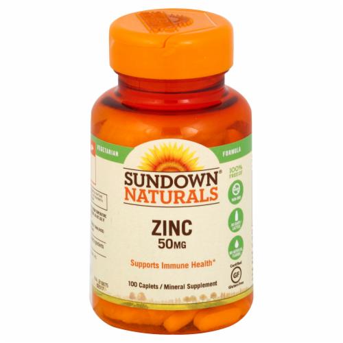 Sundown Naturals Zinc 50 mg Caplets Perspective: front