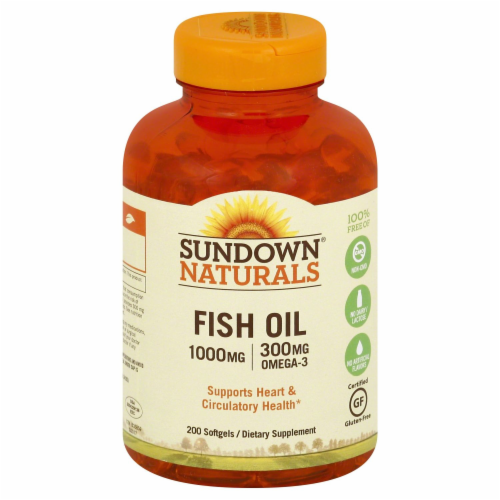 Sundown Naturals Fish Oil 1000 mg Omega-3 Softgels Perspective: front