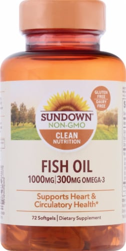 Sundown Naturals Fish Oil Omega-3 Softgels Perspective: front