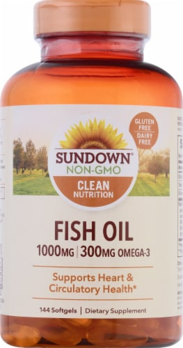 Sundown Naturals Fish Oil Omega-3 Softgels Perspective: front