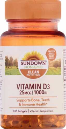 Sundown Naturals Vitamin D3 1000 IU Softgels Perspective: front