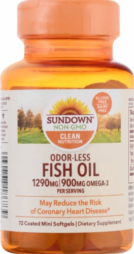 Sundown Naturals Odorless Fish Oil 1290 mg Omega-3 900 mg Mini Softgels Perspective: front
