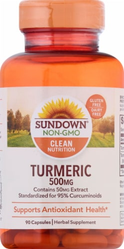 Sundown Naturals Turmeric 500 mg Capsules Perspective: front