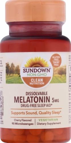 Sundown Naturals Dissolvable Melatonin Cherry Flavored Microlozenges 5mg Perspective: front