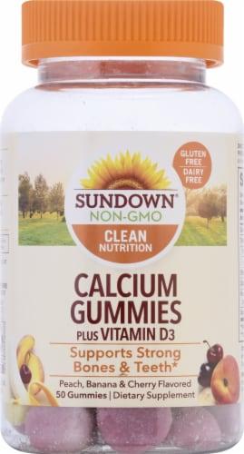 Sundown Naturals Calcium Plus Vitamin D3 Peach Banana & Cherry Flavored Gummies Perspective: front