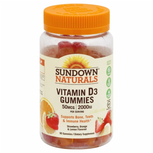 Sundown Naturals Strawberry Orange and Lemon Flavored Vitamin D3 Gummies 50mcg 90 Count Perspective: front