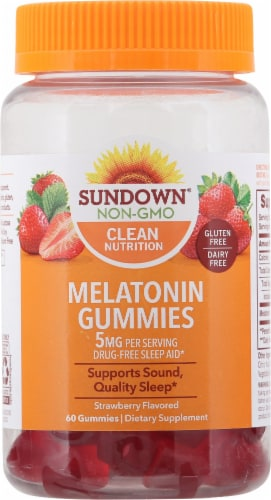 Sundown Naturals Melatonin Strawberry Gummies Perspective: front