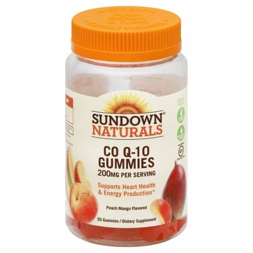Sundown Naturals Co Q-10 Peach Mango Flavored Gummies Perspective: front