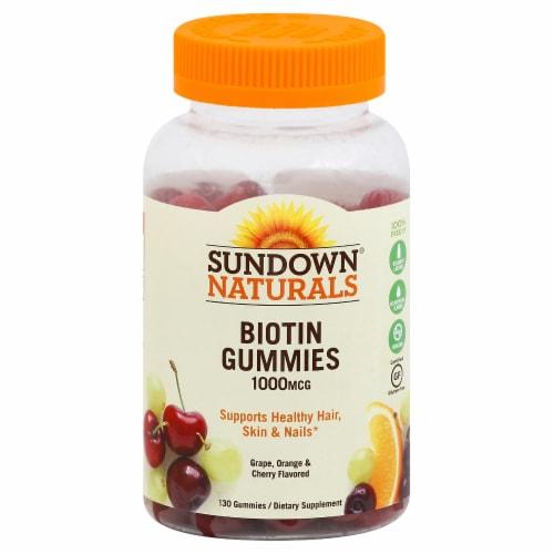 Sundown Naturals 1000mcg Biotin Grape Orange & Cherry Flavored Gummies Perspective: front