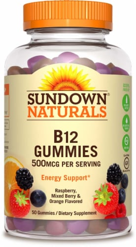 Sundown Naturals Raspberry Mixed Berry & Orange Flavored B12 Gummies 500mcg 50 Count Perspective: front