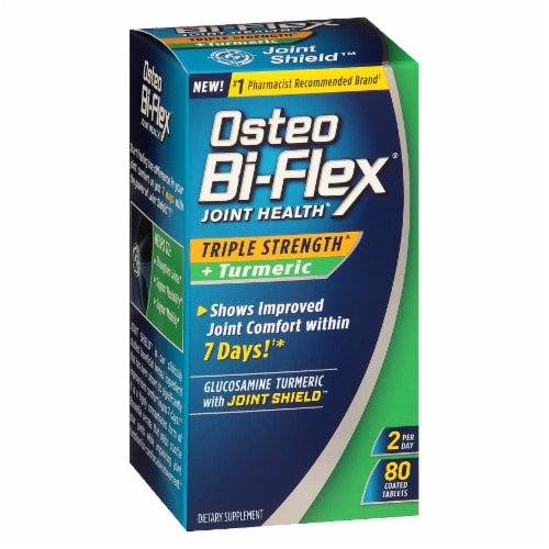 Osteo Bi-Flex Triple Strength + Tumeric Joint Health Coated Tablets 80 Count Perspective: front