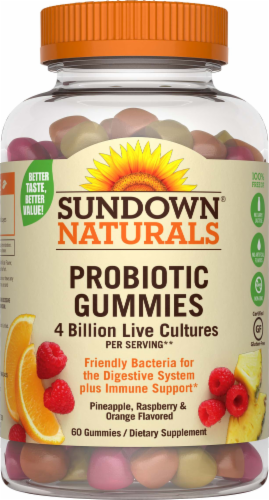 Sundown Naturals Probiotic Pineapple Raspberry & Orange Flavored Gummies Perspective: front