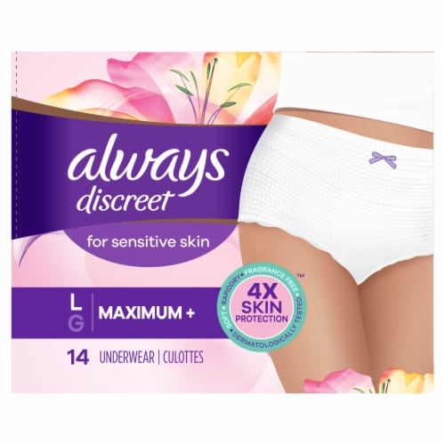Always Discreet Large Maximum+ Women's Incontinence Underwear for Sensitive Skin Perspective: front