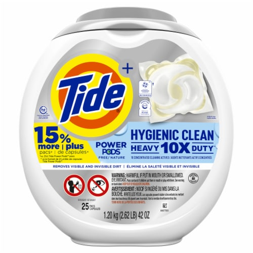 Tide Hygienic Clean Power Pods Scent Free Laundry Detergent Pacs Perspective: front