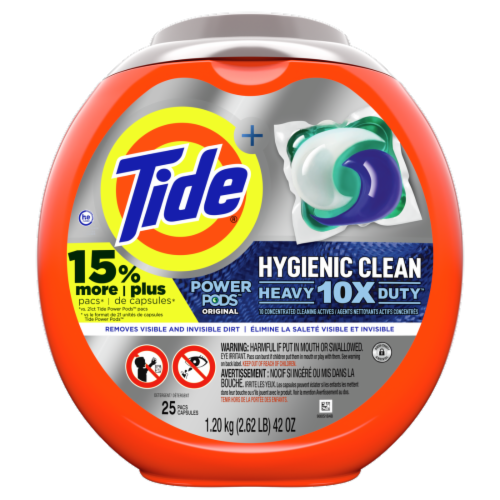 Tide Hygienic Clean Power Pods Original Laundry Detergent Pacs Perspective: front