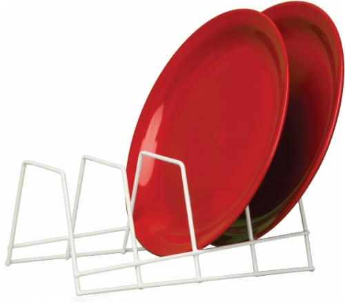 Grayline® Plate Rack Organizer - White Perspective: front