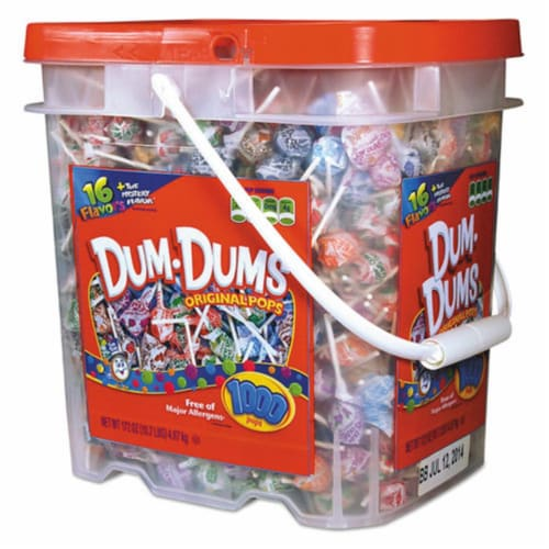 Spangler SPA75 Dum-Dum-Pops Candy - 1000 Bucket per Case Perspective: front