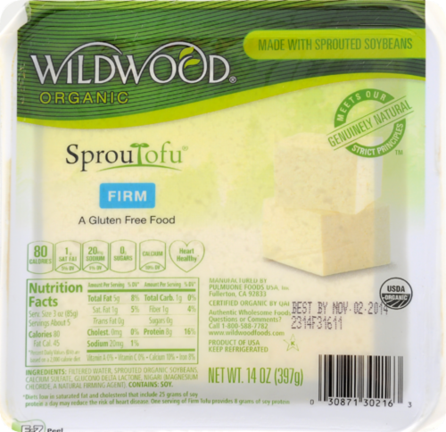 Wildwood Organic SprouTofu Firm Tofu Perspective: front