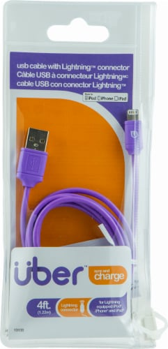 Uber Charge and Sync Lightning Cable - Purple Perspective: front
