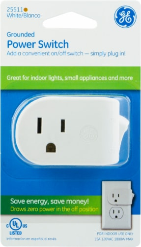 GE Grounded Power Switch - White Perspective: front