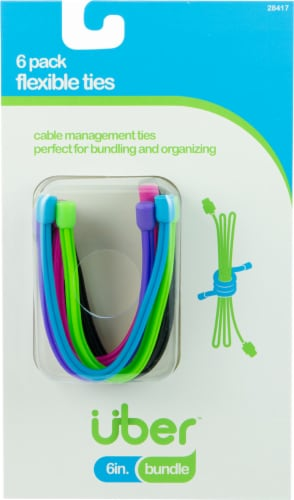 Uber Flexible Cable Management Ties 6 Pack Perspective: front