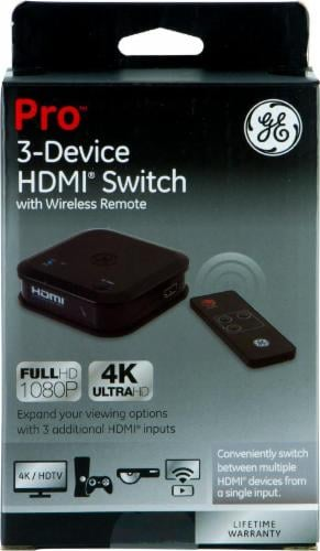 GE Pro 3-Device HDMI Switch with Wireless Remote - Black Perspective: front