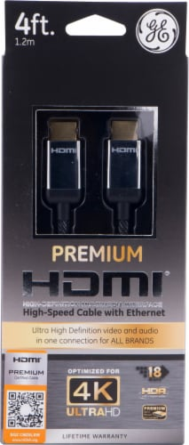 GE Ultra Pro Premium HDMI Cable - Black/Silver Perspective: front