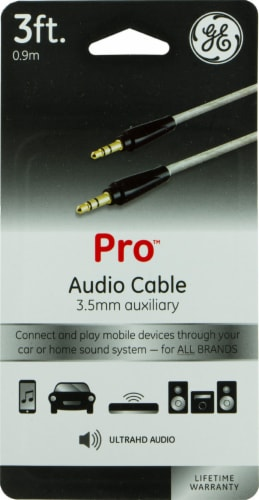 GE Pro 3.5mm Auxiliary Audio Cable - Gray Perspective: front