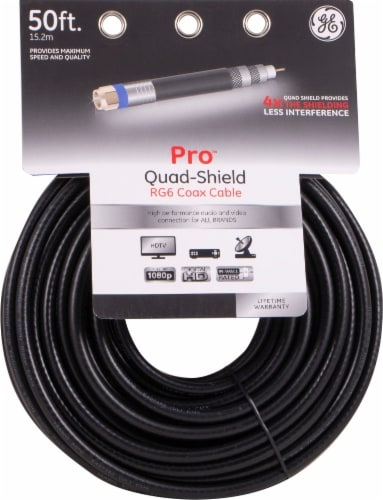 GE Pro Quad-Shield RG6 Coax Cable - Black Perspective: front