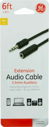 GE 3.5mm Auxiliary Extension Audio Cable - Black Perspective: front