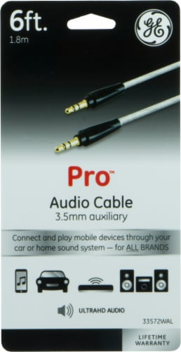 GE 3.5mm Auxiliary Audio Cable - Black Perspective: front