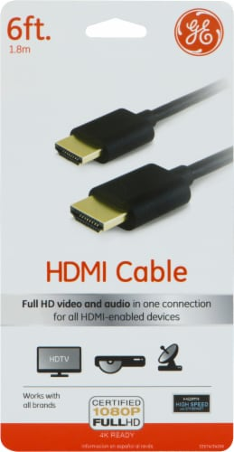 GE HDMI High Speed Ethernet Cable - Black Perspective: front