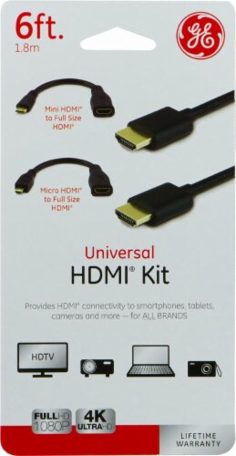 GE Universal HDMI Cable Kit - Black Perspective: front