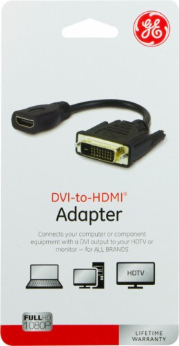 GE DVI-to-HDMI Adapter - Black Perspective: front
