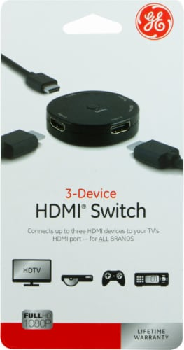 GE 3-Device HDMI Switch - Black Perspective: front