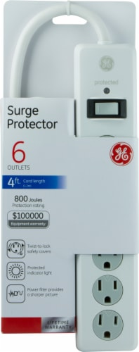 GE 6-Outlet Surge Protector - White Perspective: front