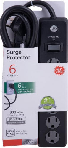 GE 6-Outlet Surge Protector - Black Perspective: front