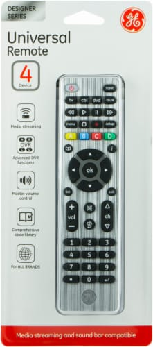 GE Designer Series 4 Device Universal Remote - Silver Perspective: front