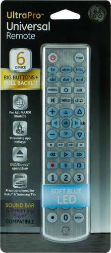 GE UltraPro™ Universal Remote Control -Silver Perspective: front