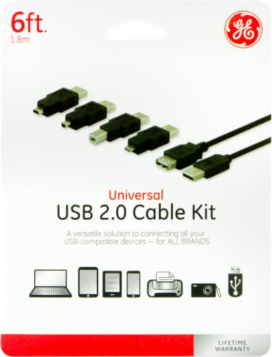 GE Universal USB 2.0 Cable Kit - Black Perspective: front