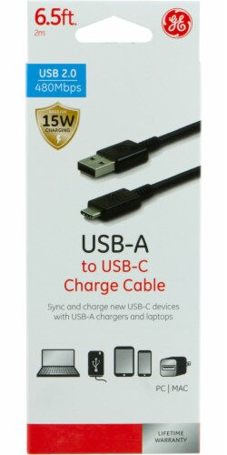 GE USB-A to USB-C Charge Cable - Black Perspective: front