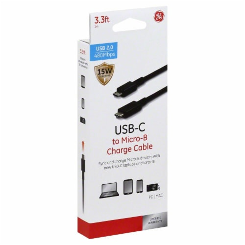 GE USB-C to Micro-B Charge Cable - Black Perspective: front