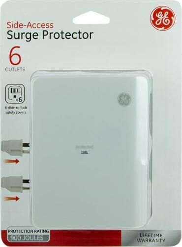 GE 6 Outlet Side Access Surge Protector - White Perspective: front