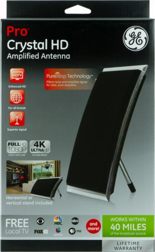 GE Pro Crystal HD Amplified Antenna - Black Perspective: front
