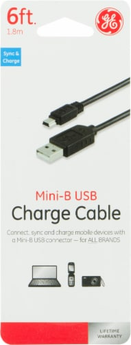 GE Mini-B USB Charge Cable - Black Perspective: front