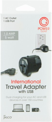 Jasco Power Gear International Travel Adapter with USB Passive Connector - Black Perspective: front