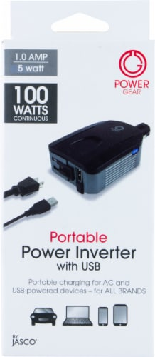Jasco Power Gear 1-Amp Portable Power Inverter with USB - Black Perspective: front
